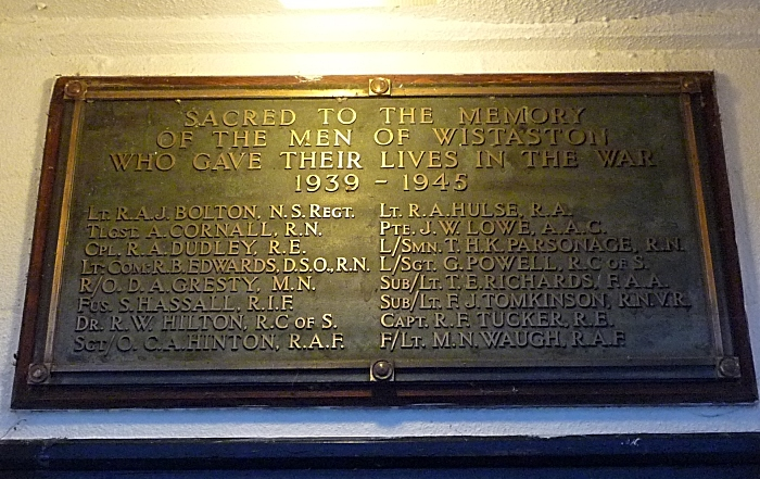 The permanently illuminated WW2 plaque above Wistaston Memorial Hall's main entrance (1)