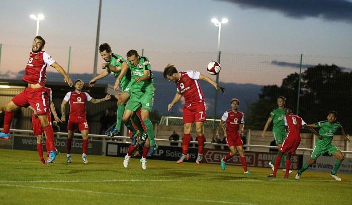 Theo Stair heads the ball towards the Buxton goal