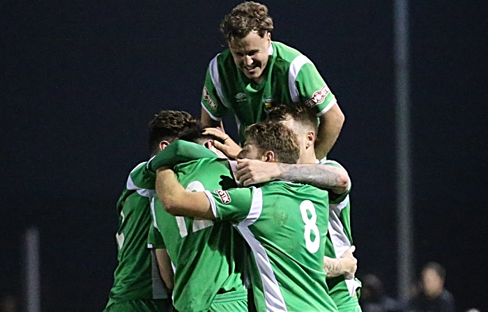 Third and winning Nantwich Town goal - Steve Jones celebrates with teammates (1)