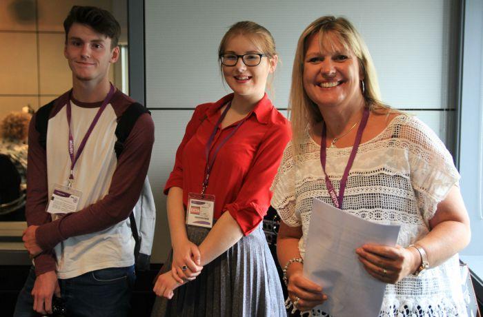 Tina McMillan and sixth formers at BBC