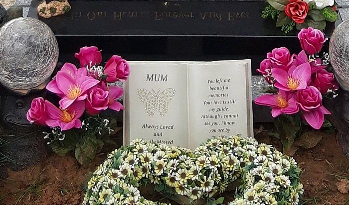 Tish Cliffe - stolen grave ornaments Beryl Hilton