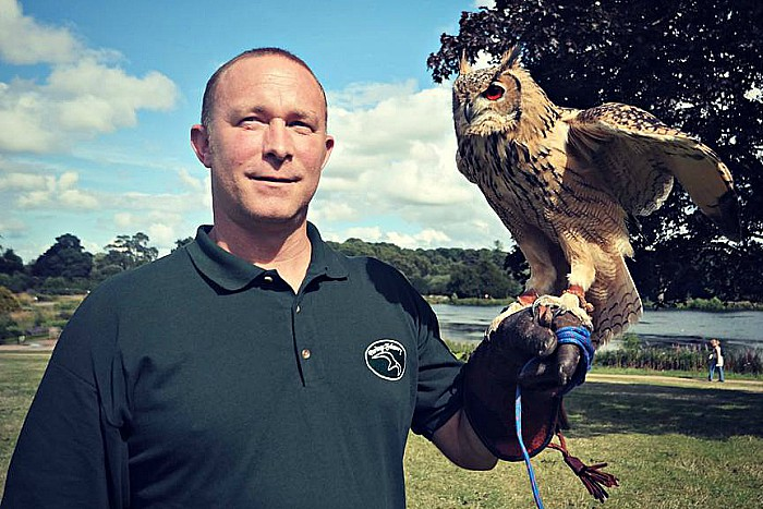 Toby Milburn and Indie - birds of prey open day