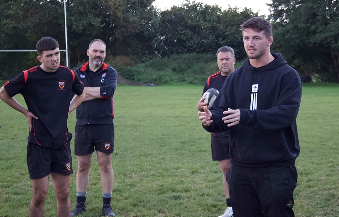 Tom Curry passes on his tips to Crewe and Nantwich academy stars