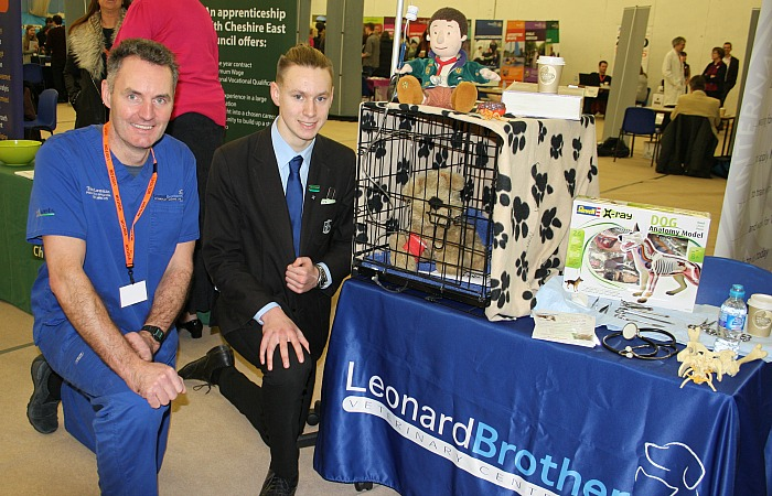 careers - Tom Leonard from Leonard Veterinary Centre Ltd instructs Tom Spooner in the practicalities of looking after a sick animal