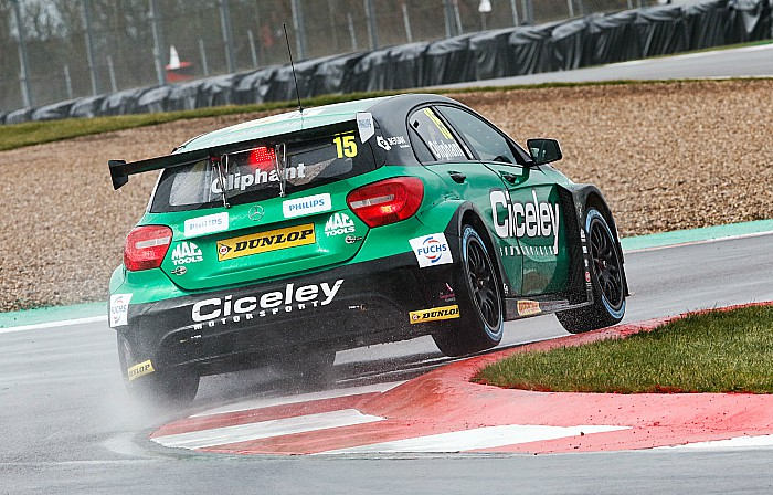 Tom Oliphant in new Mercedes car test drive at Donington - pic by Jakob Ebrey Photography