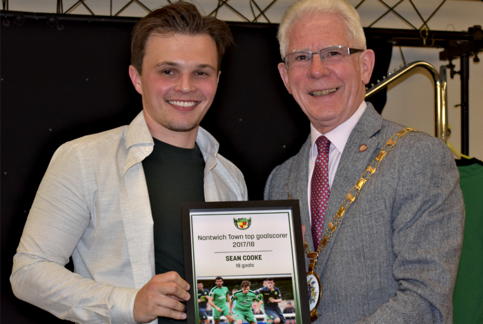 Top goal scorer - Sean Cooke receives his award from Mayor of Cheshire East Councillor Arthur Moran
