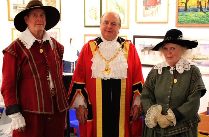 Town Mayor, Cllr. David Marren with Colin Bisset and Brenda Rampling of The Sealed Knot at the opening of the CCWC, Nantwich Museum (1)