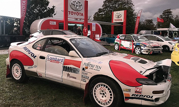 Toyota display with historic rally cars - RallyFest