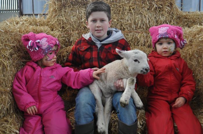 Twins Sienna and Jessica Nicoll 3  yrs from Crewe with Joe Roach