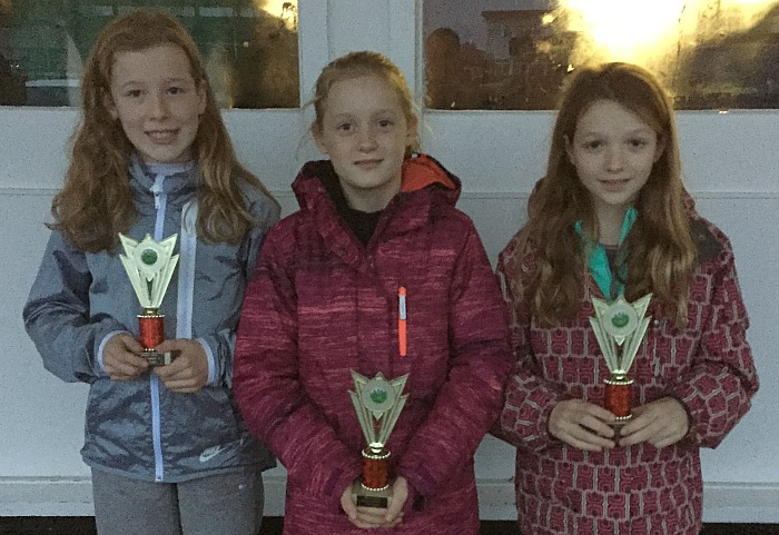 U11 girls team gold - Pru, Esther Wilding 4th (Audlem school) and Grace Wilne 5th (Stapeley broad lane)