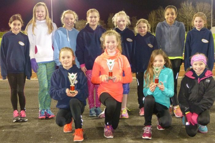 U11s Crewe & Nantwich girls Esther Wilding, Grace Wilne and Pru Lindsey part of team (pic with trophies)