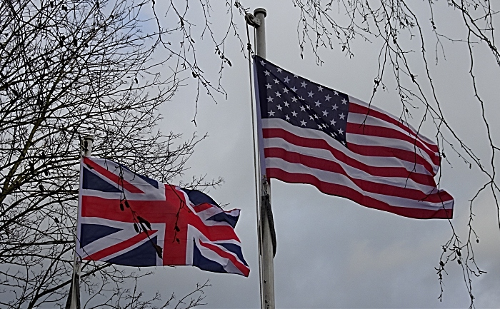 Union Flag and the flag of the United States of America fly alongside eachother (1)