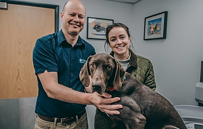 Vet Charlie Sale of Oakwood Vet Referrals is pictured with Cola's ownerRebecca Vickers and Cola