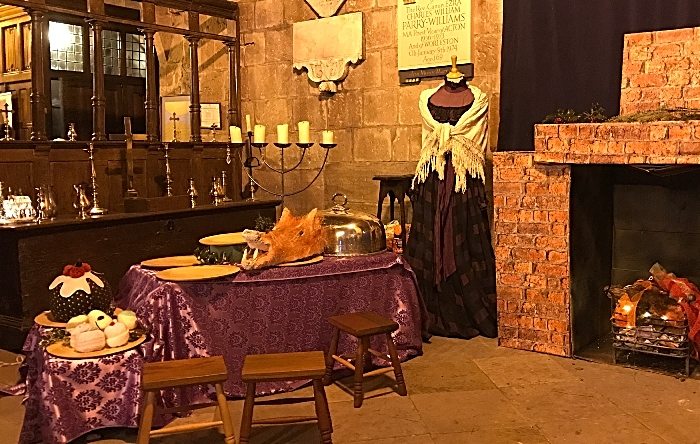 Victorian living room themed stage area produced by the church's flower arranger, Deana Emerton (1)