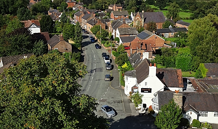 View west along Main Road from the top of Wybunbury Tower (1)