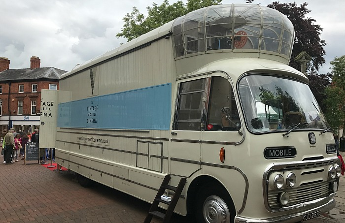 Vintage mobile cinema on Nantwich town square