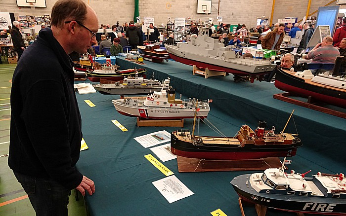Visitor Chris White views the Crewe and District Model Boat Club exhibits