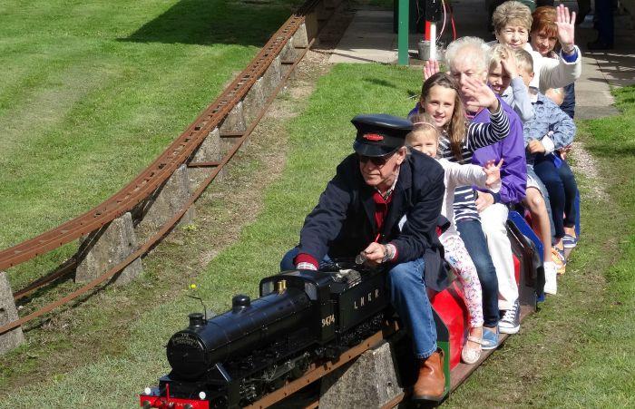 Model Engineering Society - Visitors enjoy a miniature-gauge steam train ride