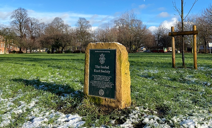 Volunteer Fields - metal plaque & stone and mature tulip tree (1)