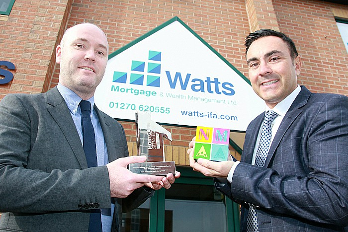Watts protection specialist Barry Jones and managing director AndrewWatts with the firm's awards