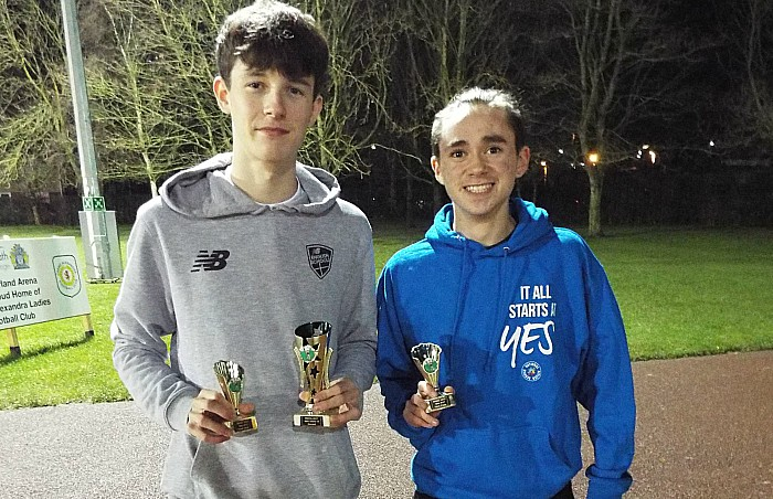 Will Kesteven (left) winer U17 boys and 3rd place team with Corey Matravers