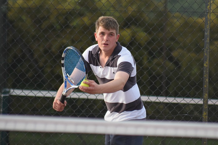 tennis - William Elwood prepares to serve for Wistaston against Alsager at Wistaston in Mens Division 2 in June 2017