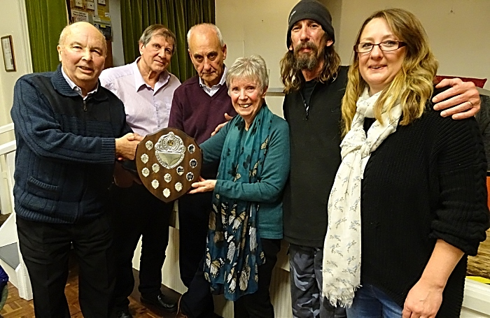 Winning team The Hall Stars receive the Fred Lorimer trophy from Peter and Christina Wainwright (1)