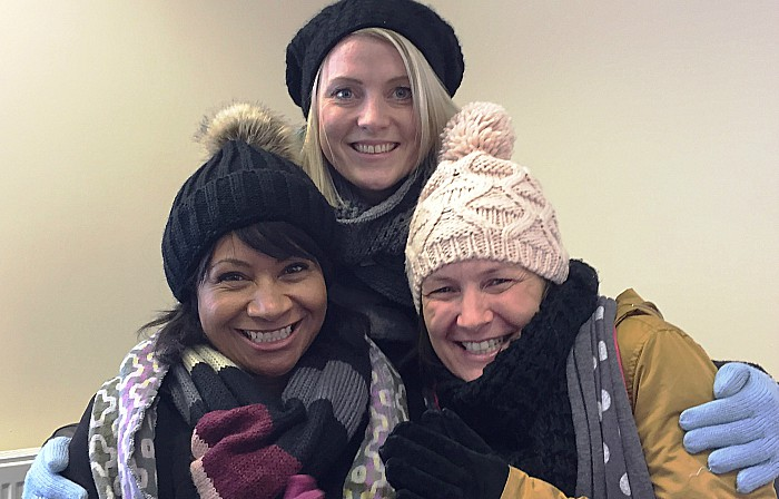 Winter woollies at Barnardo's l-r Nicky Midgley, Natalie Dixon and Vicky Dobie from Barnardo's