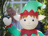 Wistaston's famous garden gnomes welcome Boris Johnson the Elf!