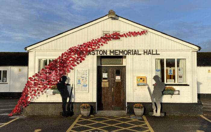 Wistaston Memorial Hall - Remembrance Day poppy cascade and silhouetted soldiers (2)