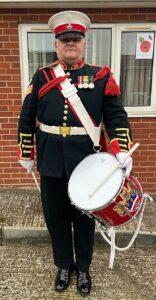 Wistaston - Rob Richardson prepares to drum on his driveway (1)