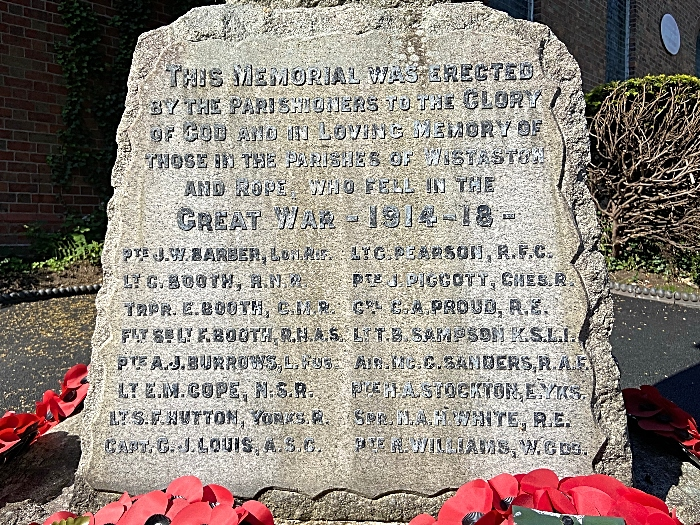 Wistaston & Rope War Memorial - First World War inscriptions (1)