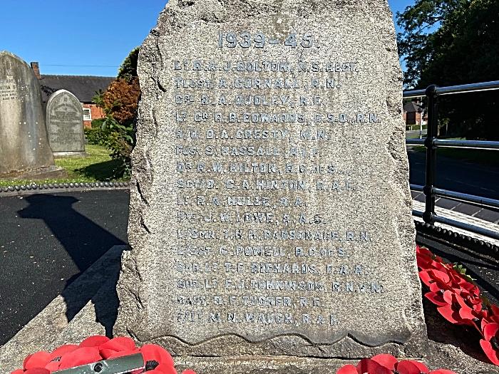 Wistaston & Rope War Memorial - Second World War inscriptions (1)