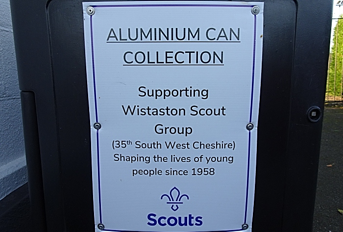 Wistaston Scout Group - aluminium can collection bin - sign (1)