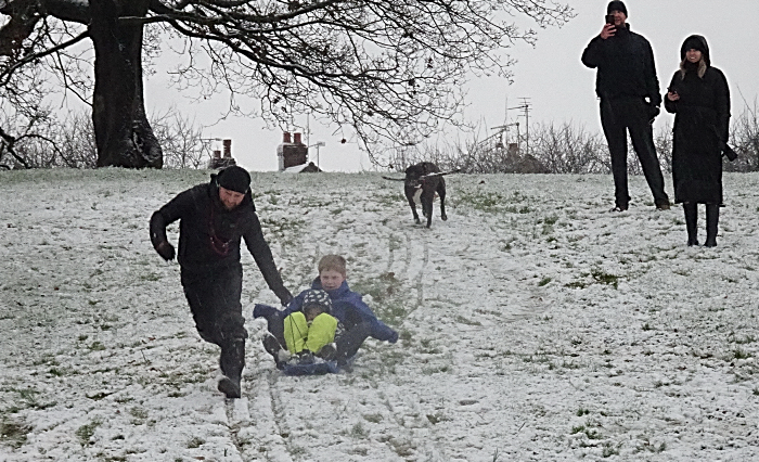 Wistaston - people enjoy the snow at the Joey the Swan recreation ground
