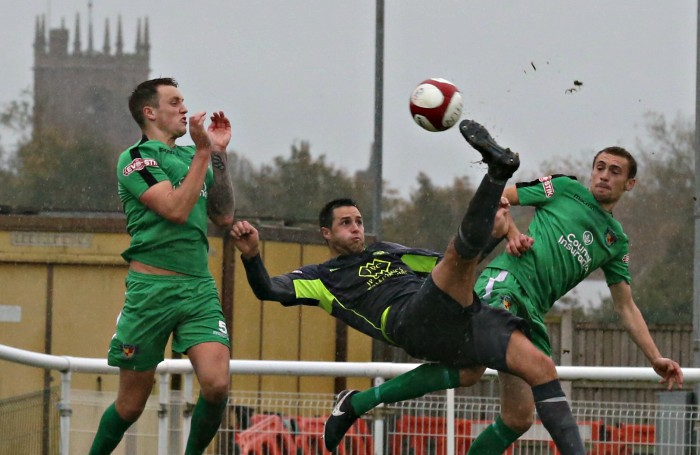 Witton Albion player Rob Hopley with an overhead scissors kick on goal