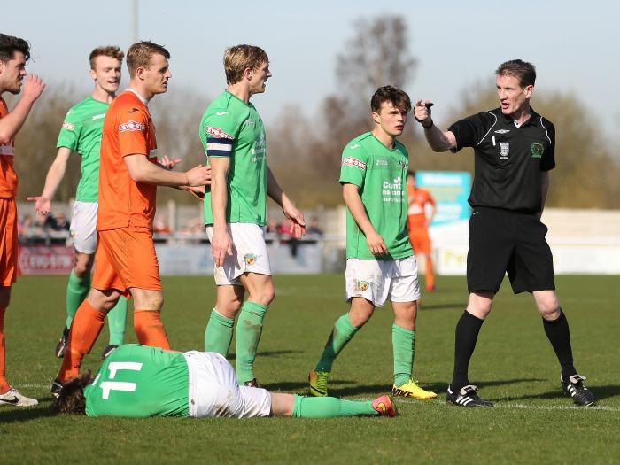 Witton keeper sent off for foul on Matty Kosylo