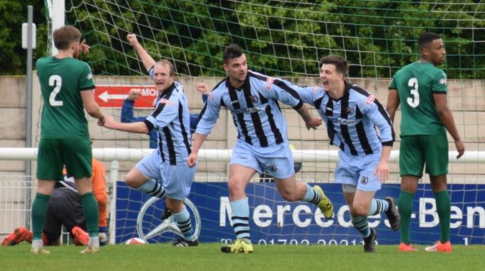 Boss parkinson - Workington goal - Jack Ryan celebrates his goal with team-mates