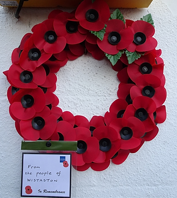 Wreath placed at Wistaston Memorial Hall from the people of Wistaston (1)