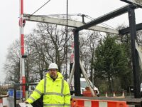 Wrenbury canal liftbridge - new boater control pedestal and Darren Spann