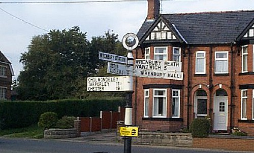 Wrenbury signpost pic under creative commons by John V Nicholls