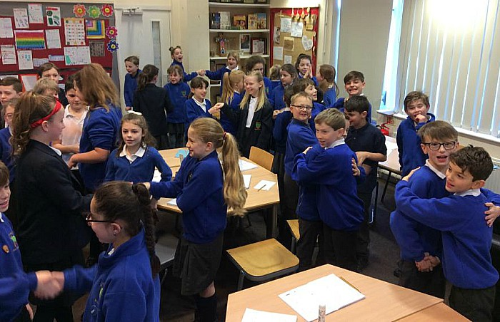 Wybunbury Delves pupils celebrate times tables rock stars win