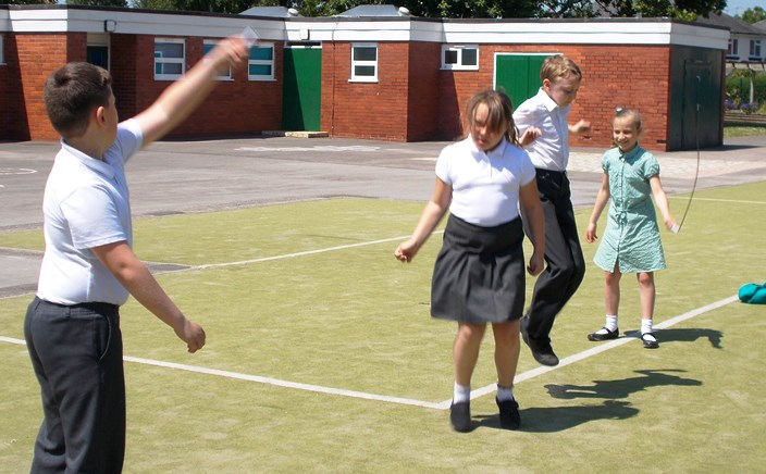 Wyche Primary pupils Joshua, Kacey, Joe and Lacey skipping for BHF