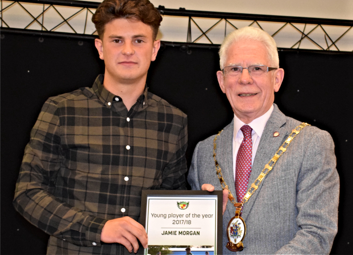 Young player of the year 2017-18 - Jamie Morgan - left - receives his award from Mayor of Cheshire East Councillor Arthur Moran (1)