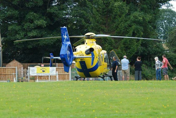 air ambulance at Faddiley FC after A534 crash August 27