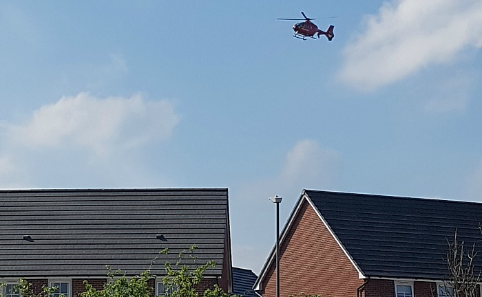 ladder fall - air ambulance malbank waters in nantwich