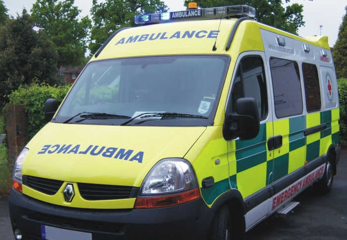 Anthony Rushton motorcyclist - person hit by train at Wrenbury - ambulance (creative commons licence)