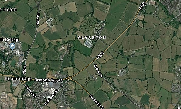 beam heath trust manages land north and east of Nantwich - image by Google Maps