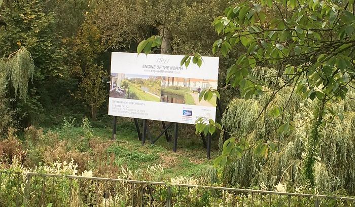 billboard on River Weaver, St Anne's development, traffic
