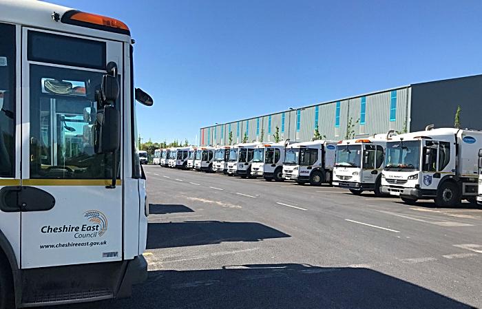 Ansa - bin lorries at cledford lane rubbish recycling hub